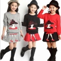 baby girls clothes set 2016	Long Sleeve Cartoon Print shirt +Skirt Outfits children clothing sets girl clothes good