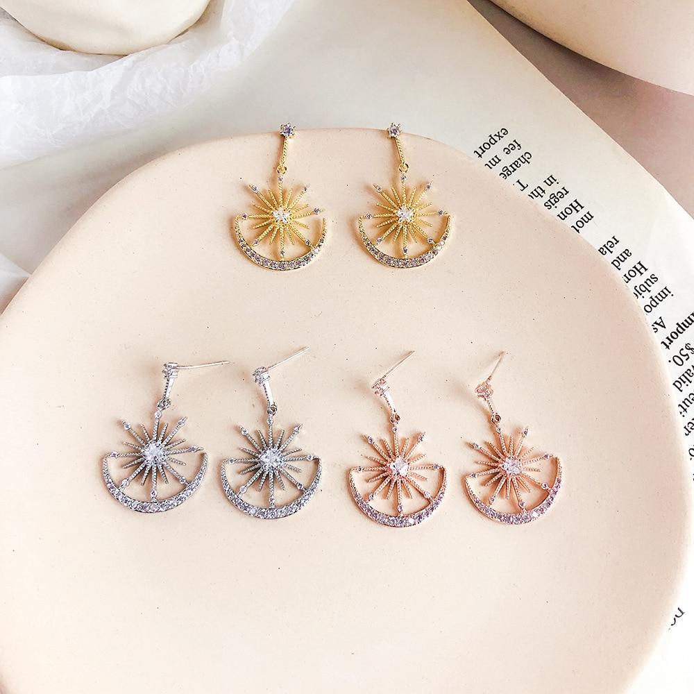 Earrings Solar Moon Crystal Earrings For Women   1