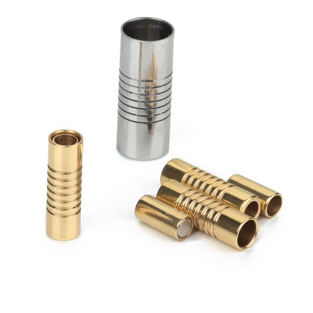5 sztuk ze stali nierdzewnej okrągłe zapięcia magnetyczne srebrny Tone złoty złącze Fit 2mm 3mm 4mm 6mm 8mm skórzane bransoletki rzemykowe ustalenia