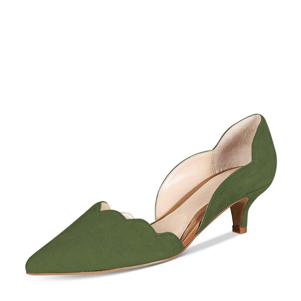 b177c15a71 Kmeioo Women Shoes D'Orsay Pumps Pointed Toe Kitten Heels Slip-on Suede Med  Heel Shoes Formal Dress Office Shoes