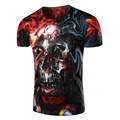 Foreign trade wholesale supplies a new 3 d printing color skulls man short sleeve T-shirt, 11413.