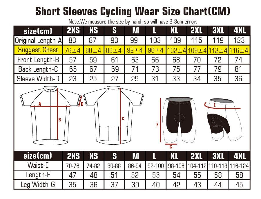 size chart of cycling jersey and cycling bib shorts