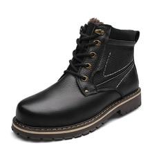 Г. Новинка, Зимняя мужская обувь на плоской подошве, из натуральной кожи, с круглым носком, на шнуровке, высокие модные повседневные ботинки размера плюс 37-50, SXQ0708