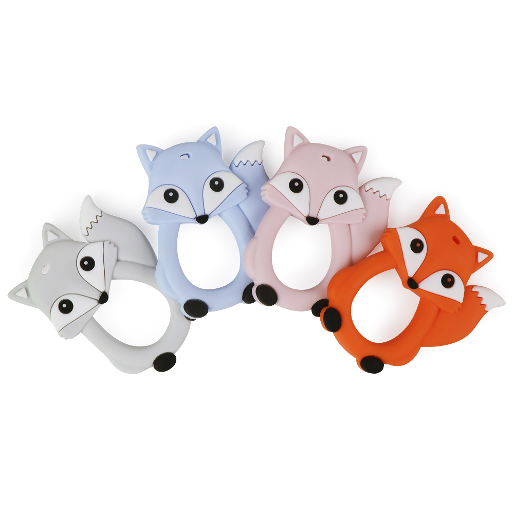 TYRY.HU 1pcs Baby Silicone Teething Teethers Nursing Toy Puppy Fox Elephant Teether Beads  Food Grade Silicone Teether Pacifier
