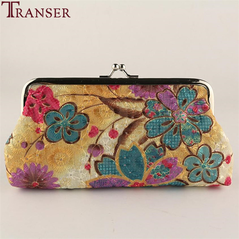 Transer Women Lady Retro Vintage Flower Small Wallet Hasp Purse Clutch Bag Change Pouch Key Card Mobile Phone package Holder a9