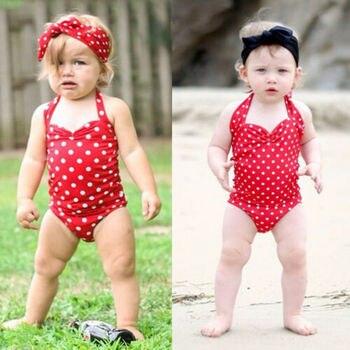 Newborn Baby Girl Polka Dot Swimsuit 2019 New Arrival Cute Fashion Toddler Swimwear Swimming Halter Lovely  Bikini plus size halter polka dot bikini swimwear