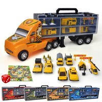 1:18 Diecast Truck Children's Toy Alloy Portable Container Truck 4 Series with Car Roadbock Map Dice Model Toy Speelgoed Auto