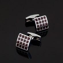 XK425 High high quality French Cufflinks crimson grid Cufflinks males's Wedding Shirts glazed model craft equipment