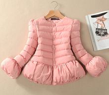 New Han edition  Hubble-bubble sleeve lamp sleeve female winter jacket princess dress a-line cotton-padded jacket