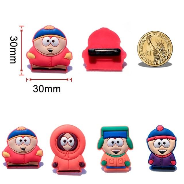 a929372857b 1Piece South Park Cartoon PVC Brooches Cartoon Pinbacks Pins Brooches  Badges Clothes Bags Hats