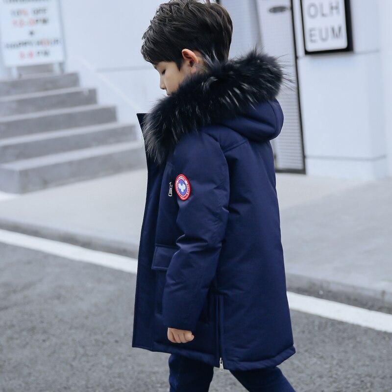 Куртка для подростков, куртка на гусином пуху для мальчиков с мехом, Модное детское зимнее пальто, пуховики для мальчиков