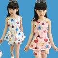 Комплект одежды Детская одежда Девушки устанавливает 2016 Лето Ропа mujer органза устанавливает Девушка печати Рукавов tshrit + шорты костюмы женские