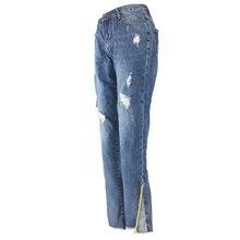 2019 Girls Ripped Jeans Women Street Pants Side Vintage Casual Trousers Skinny Denim Jeans Women Color Blue цена 2017