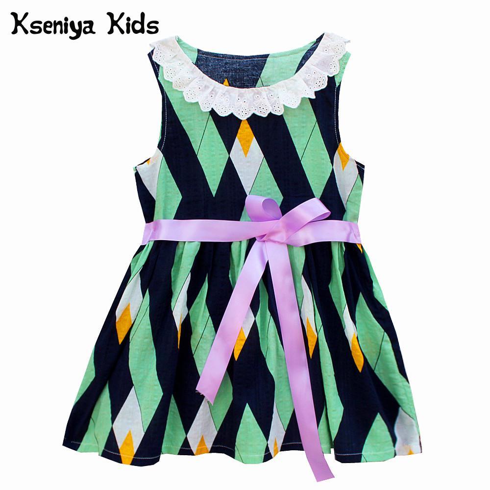 100% QualitäT Kseniya Kinder Baby Mädchen Kleidung Kleider Baumwolle Spitze Bänder Sommer Druck Baby Kleider Mädchen Hochzeit Party 1 Jahr Geburtstag Kleid