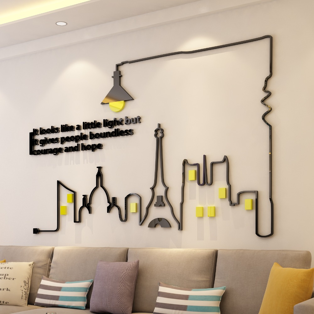 Simple Lines Acrylic Wall Sticker 3D Wall Decal Mural For Living Room Bedroom TV Background Decoration Poster Wall Art Decor in Wall Stickers from Home Garden