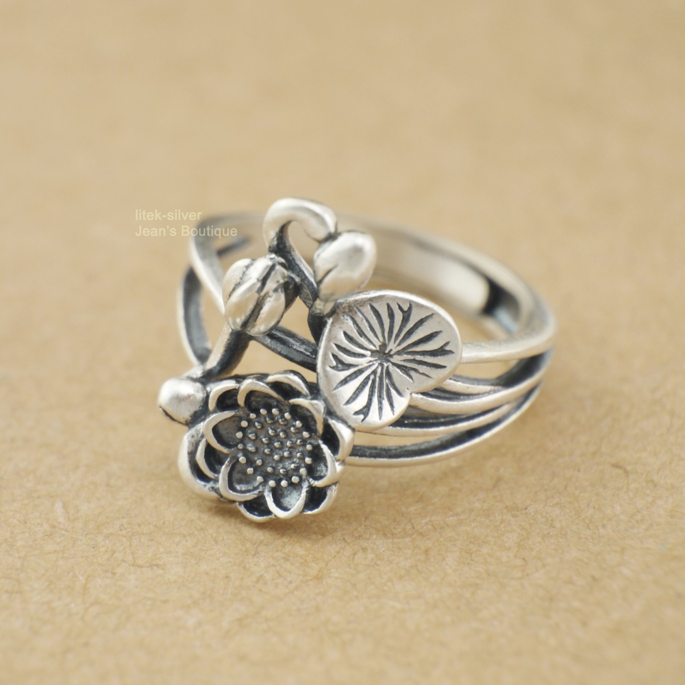 925 Solid Sterling Silver Lotus Flower Namaste Yoga