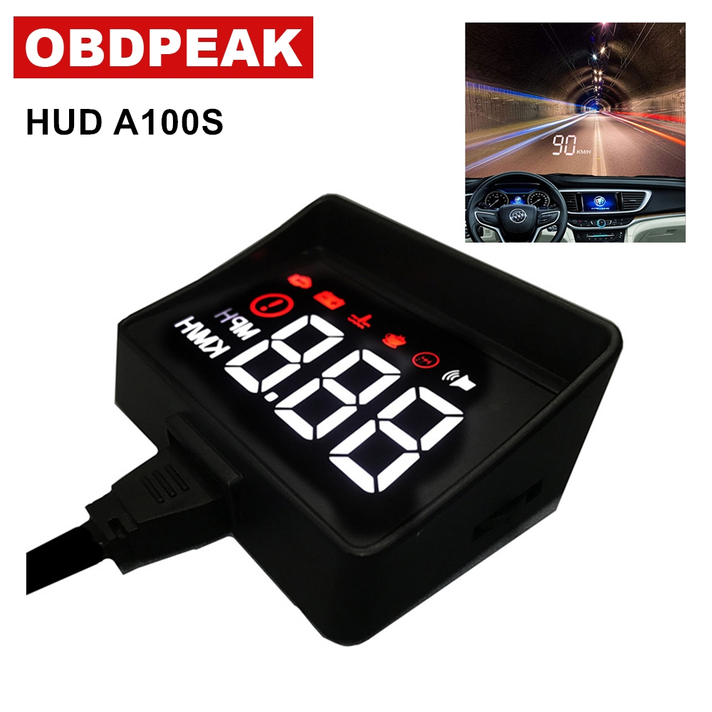 Newest obd hud display A100S Car HUD Head Up Display Overspeed Warning System Projector Windshield Auto Electronic Voltage Alarm 4f car obd2 ii manual switch hud km h mph overspeed warning windshield projector alarm system head up display