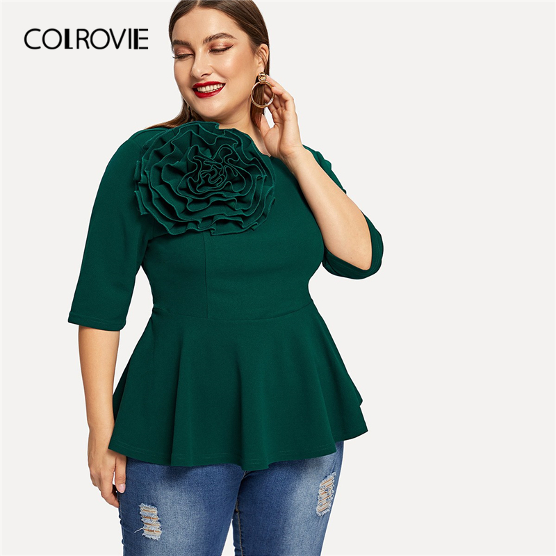 e3752f8b117 COLROVIE Plus Size Green Flower Applique Peplum Elegant Blouse Women 2019  Spring Korean Half Sleeve Zipper Casual Ruffle Shirt-in Blouses   Shirts  from ...