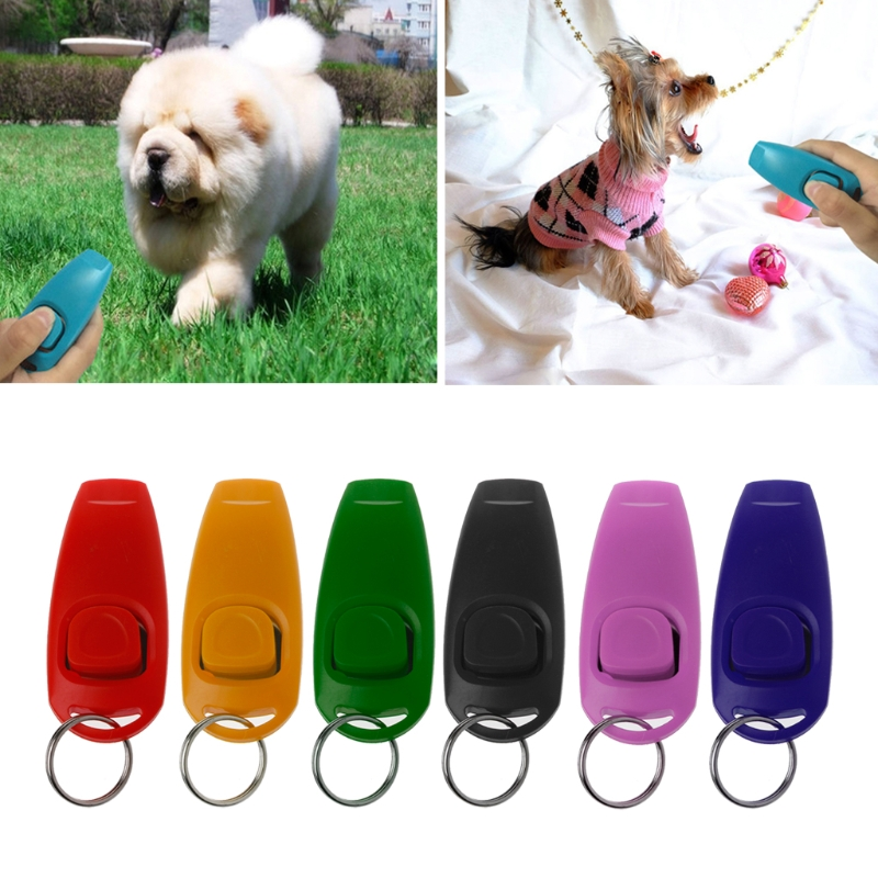 Dog Training Whistle Clicker Pet Dog Trainer Aid Guide Key Chain For Dog Supply