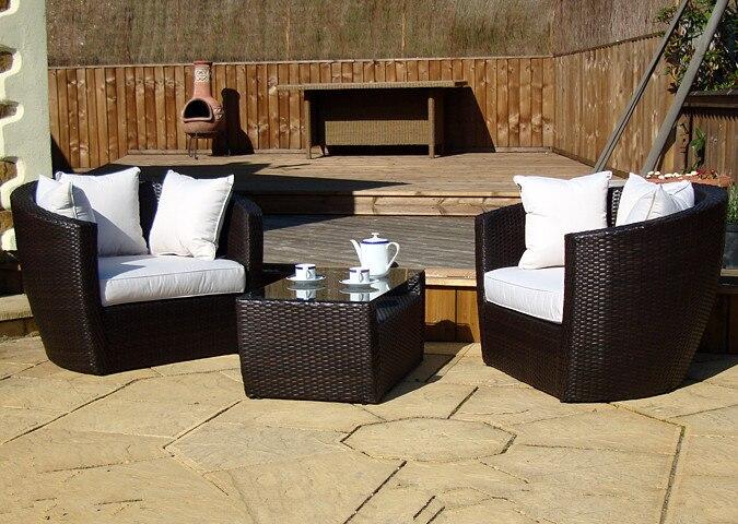 leisure ways patio 3 pieces garden outdoor gray rattan wicker furniture sofa set