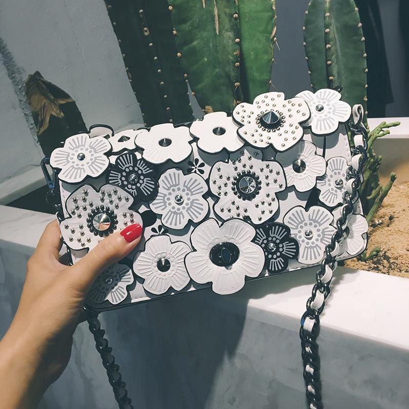 2018 Women Handbags PU Leather Three-dimensional Flowers Rivets Chains Camellia Lady Hand Bag Flap Shoulder Crossbody White Bags
