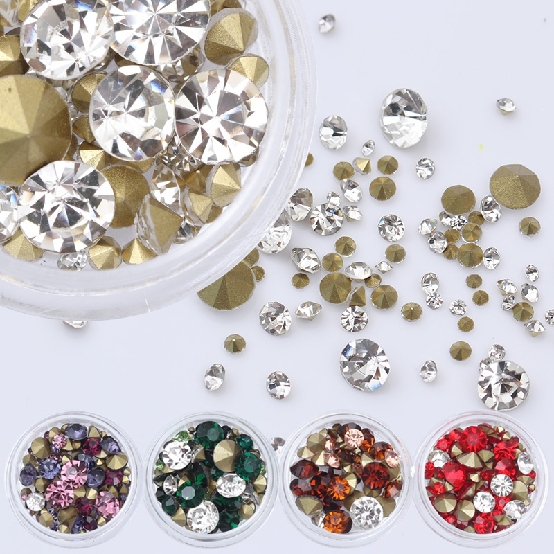 Sharp Bottom Rhinestone 3D Nail Decoration 3.5g Colorful Multi-size Shining Manicure Nail Art Decoration 4 6 waterdrop shape 3d nail art sharp bottom glass rhinestone nail tip decoration phone decor accessories 10pc