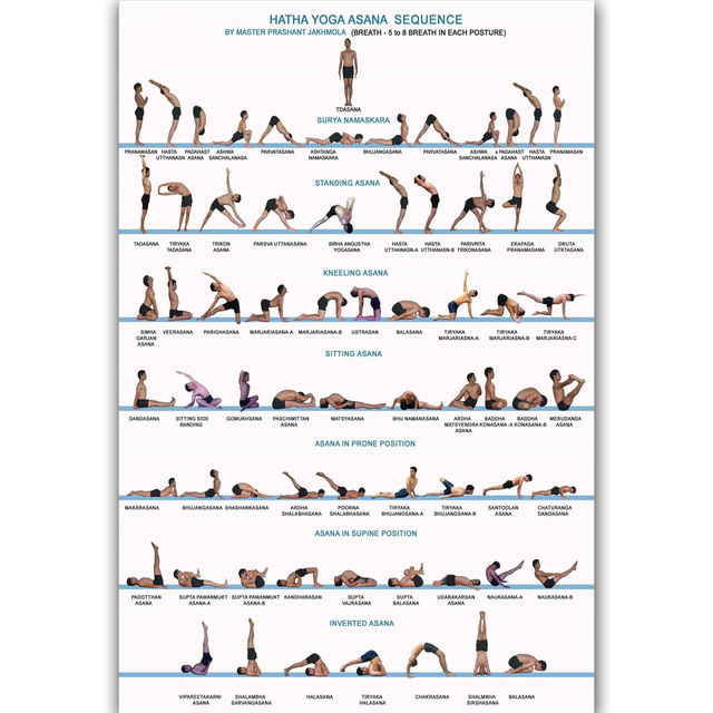 MQ2710 Yoga Exercise Bodybuilding SEQUENCE Chart Human Health Hot Art Poster Top Silk Canvas Home Decor