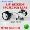 "2.5"" Inch HID Bi-Xenon Projector LENS with Shroud H1 Bulb Socket for Car Headlight H7 H4 H1"