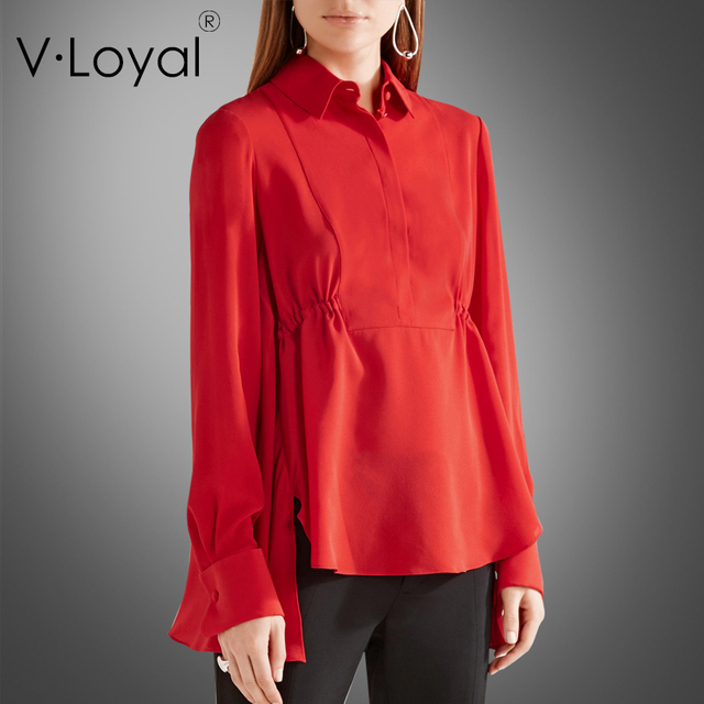 24f9cd4850 Primavera e no outono nova camisa de manga comprida camisa de seda vermelha  de todos os