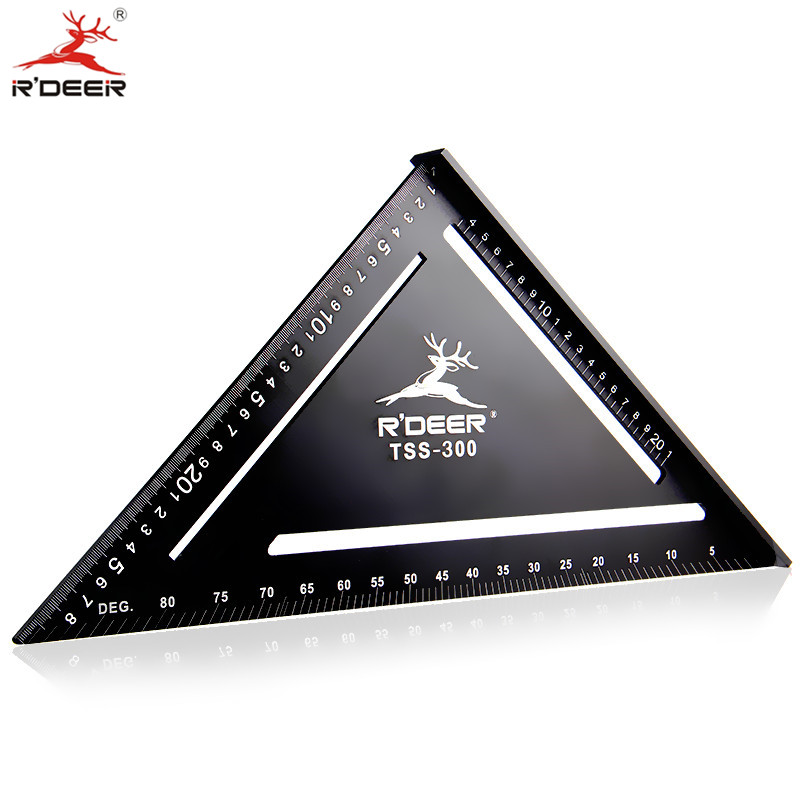 R DEER 90 Degree Triangular Ruler 300mm Thicken Aluminum Alloy Metric Protractor Square Woodworking Gauge Tools