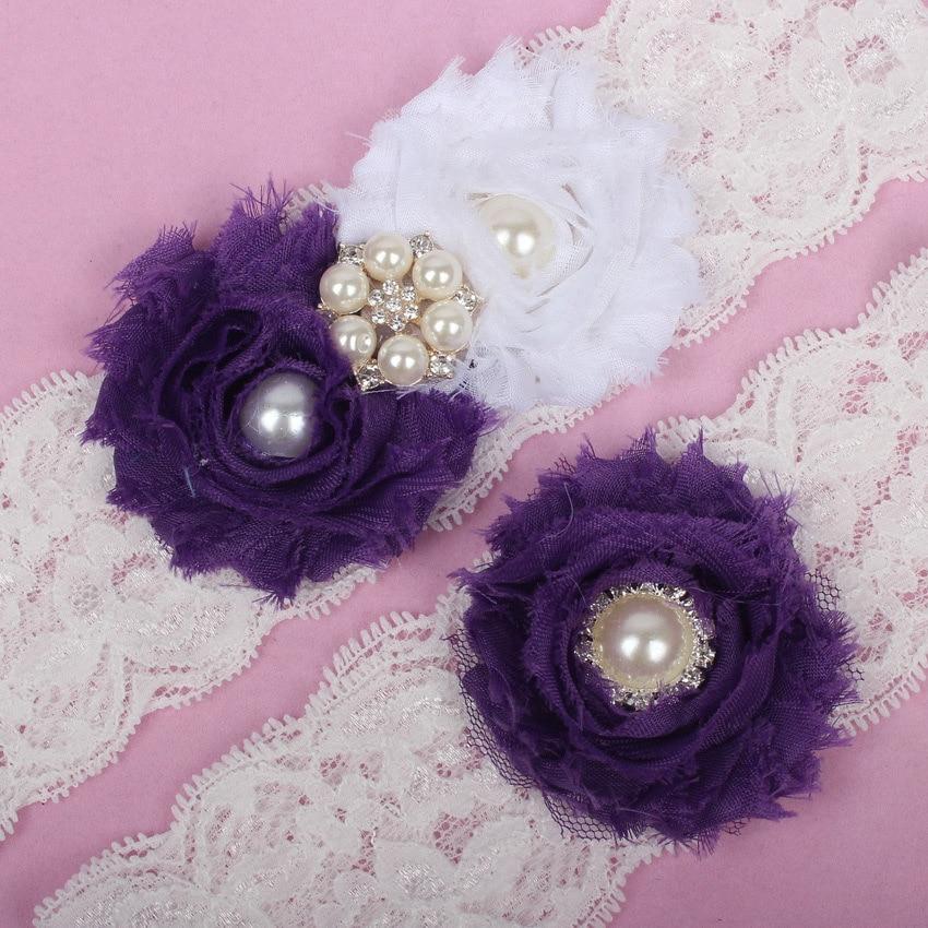 Plus Size Wedding Garters: (2 Pcs/set) Charm Purple Garter Belt Wedding Garter Set