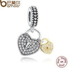Bamoer colecciones de primavera 925 sterling silver love locks, Clear CZ Encantos del Colgante para Las Mujeres Collar Pulsera Accesorios PAS263