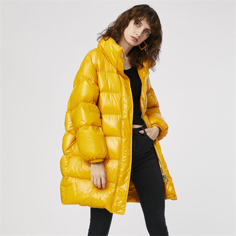 New 2019 autumn winter loose fit   down   jacket women medium long stand collar   down     coat   outerwear