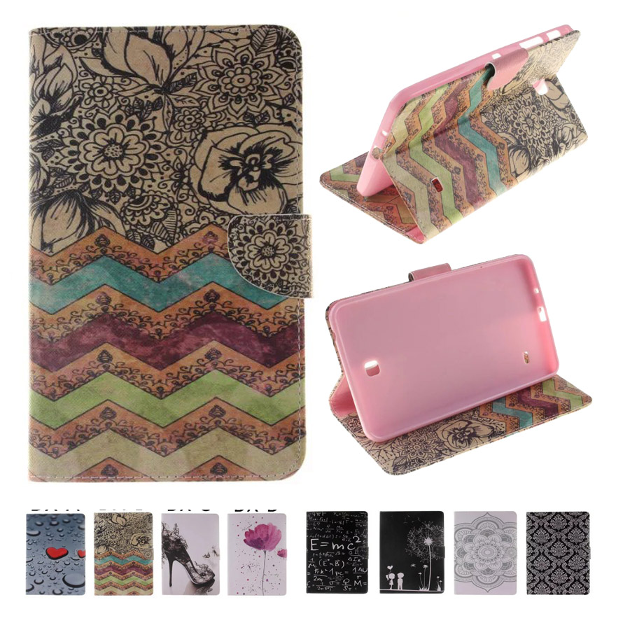 For Case Samsung Galaxy Tab 4 7.0 T230 Fashion Printing PU Leather Stand TPU Tablet Case Cover Tab 4 7.0 SM-T235 Funda Coque crocodile pattern luxury pu leather case for samsung galaxy tab 4 8 0 t330 flip stand cover for samsung tab 4 8 0 t330 sm t330