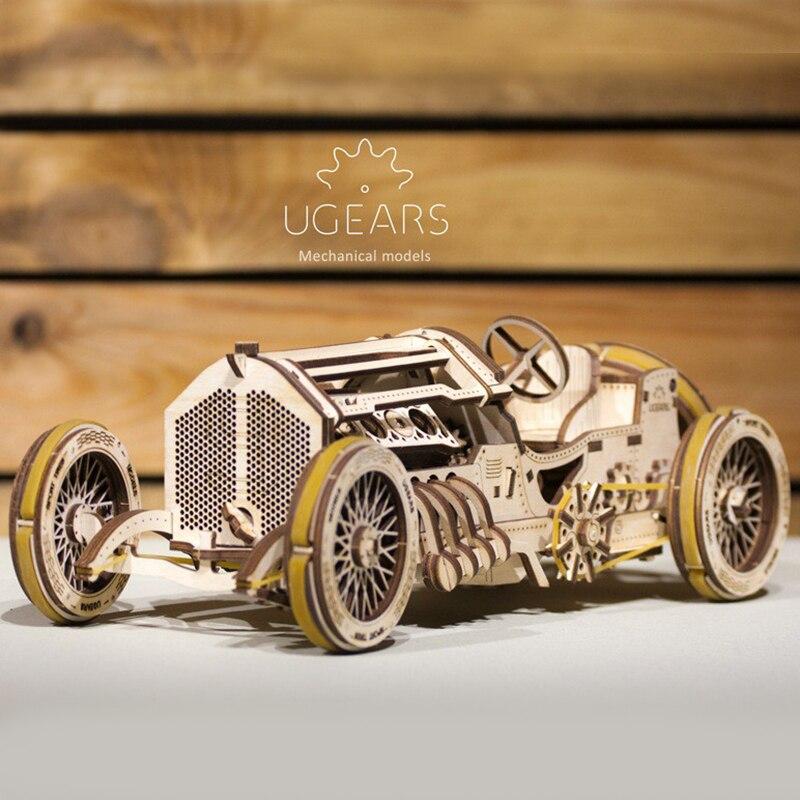 US $77 78 15% OFF UGEARS Wooden Mechanical Transmission Model Sports Car  Vintage Classic Car U 9 Racing Car Assembling Model-in Model Building Kits