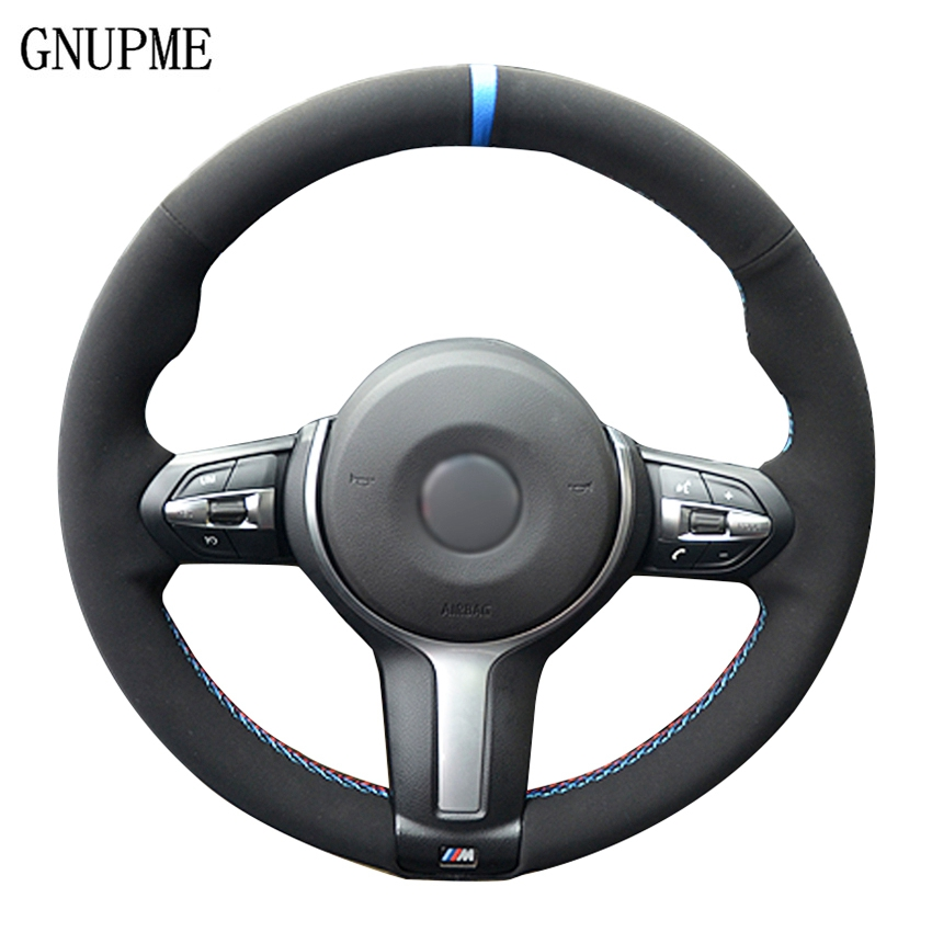 Black Suede Leather Car Steering Wheel Cover For BMW F87 M2 F80 M3 F82 M4 M5 F12 F13 M6 F85 X5 M F86 X6 M F33 F30 M Sport