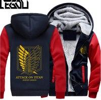 USA SIZE Men Hoodies Attack On Titan Adult Thicken Winter Hoodies Zipper Sweatshirts Coat Jacket