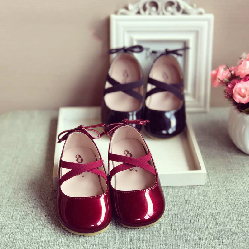 Fashion Baby Girls Leather Shoes Bowknot Princess Shoes For Wedding Party New Spring Autumn Toddler Girls Casual Shoes For Kids