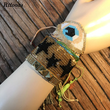 Rttooas Charm Big Evil Eye Bracelet Sets Fashion Punk Bohemian MIYUKI Bead Handmade Woven for Women Summer Street Style