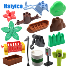 Accessories stone flower hook seesaw etc Sets Assembly Bricks Big Building Blocks Compatible with Duplo Child Baby DIY Toys Gift bulk railway cross train track big building blocks compatible with duplo classic car accessories sets bricks parts diy baby toys