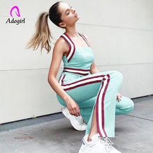 Tracksuits Women Two Piece Set 2019 Summer Solid Crop Top and Side Stripe Pants Set Suits Casual Fitness 2 Piece Set Overalls(China)
