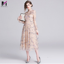 Merchall Fashion Designer Dress 2019 New High Quality Womens Runway Long Sleeve Star Sequins Party Mesh Wedding