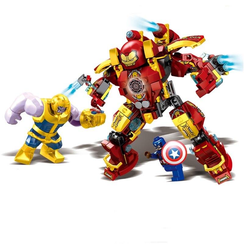 Super heroe conjunto homem de ferro thanos hulkbuster blocos de construção brinquedos compatíveis legoinglys marvel avengers endgame hulk buster 76104