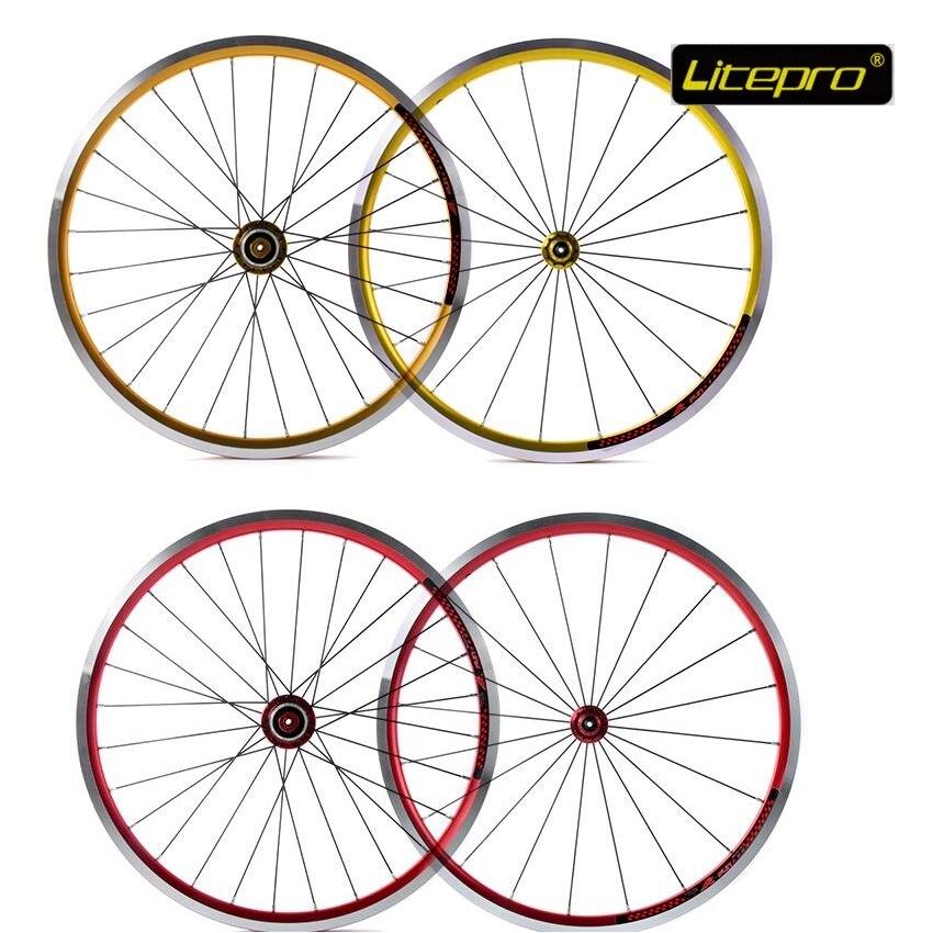 Paire de roues de vélo pliant Litepro k-king Fun 20 pouces 406 20/28 trou ultraléger groupe de roues avant roue 74mm arrière 100mm