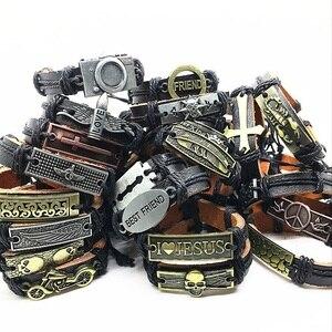 Image 2 - Wholesale Lots Bulk 50pcs genuine Cuff leather Bracelet Men Women unisex mosaic Copper alloy Mix Styles Fashion Handmade Jewelry