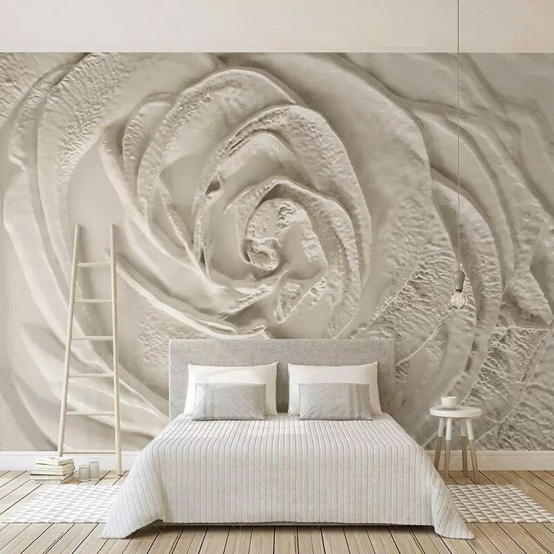 Custom Photo Wallpaper 3D Embossed Rose Flowers Mural Living Room Bedroom Home Decor Modern Simple Wall Painting Papel De Parede
