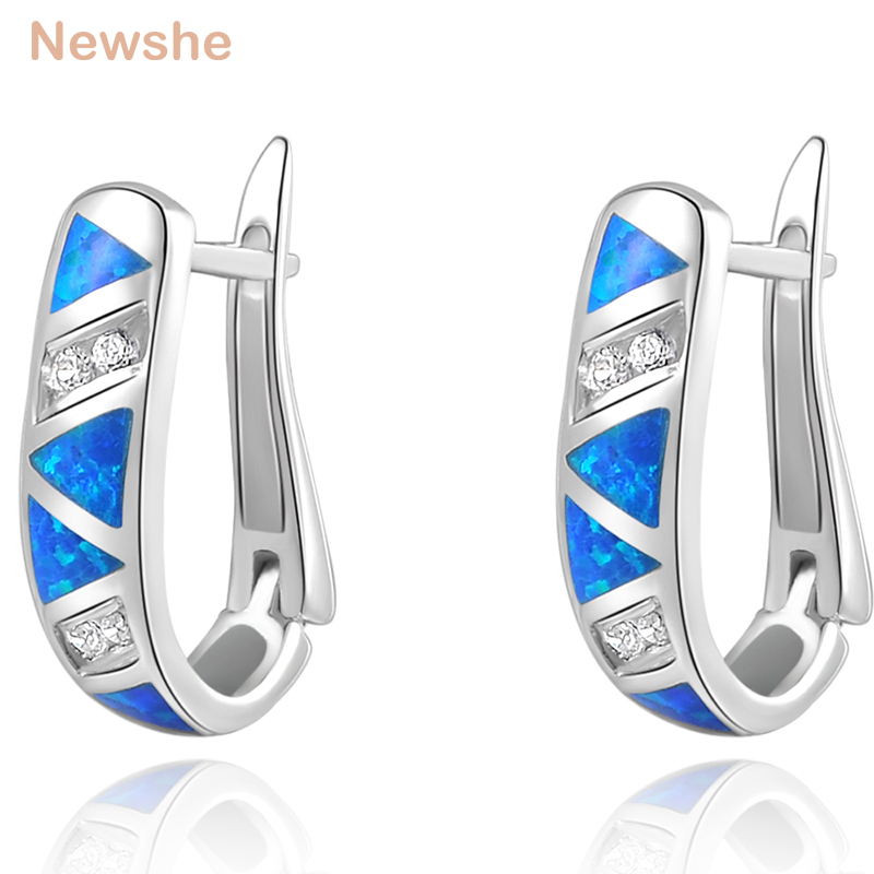 Newshe Blue Triangle Opal CZ Solid 925 Sterling Silver Hoop Earrings Classic Jewelry For Women pair of graceful rhinestone triangle earrings jewelry for women