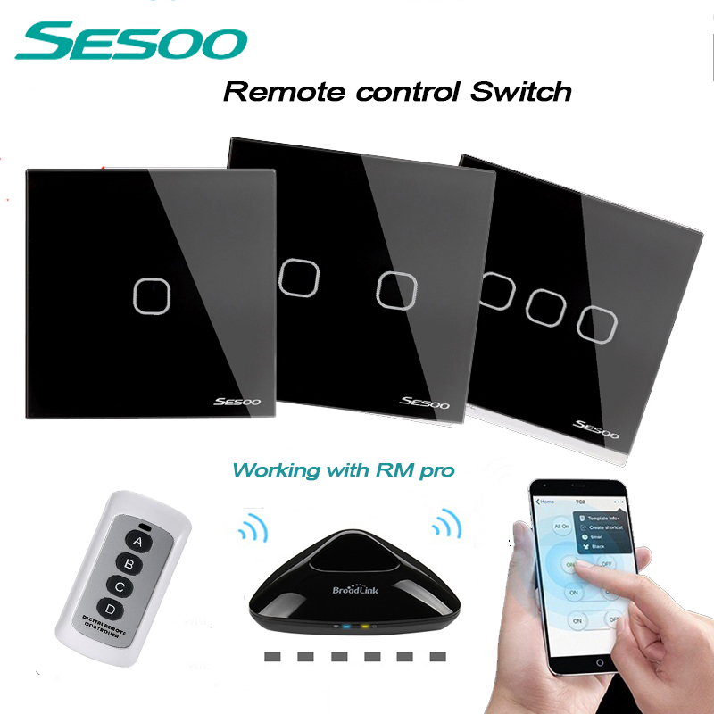 SESOO EU/UK Standard 1 2 3 Gang 220V Wireless Remote Control Light Switches, RF433 Remote Touch Wall Switch for Smart Home sesoo eu uk standard 1 gang 1 way wireless remote control switch crystal glass panel touch wall light switch for smart home