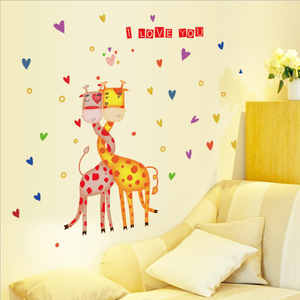 Giraffe Heart Shaped Wall Sticker Paper Home Decal Art Picture DIY ...