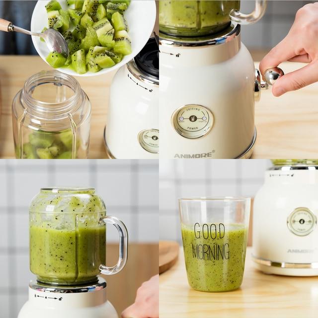 ANIMORE Juice Blender Retro Fruit Juicer Baby Food Milkshake Mixer Multifunction Juice Maker Machine Portable Fruit